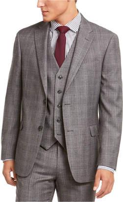 Tommy Hilfiger Men Modern-Fit THFlex Stretch Gray/Black Plaid Suit Separate Jacket