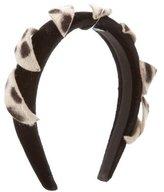Borsalino Ponyhair-Accented Velvet Headband