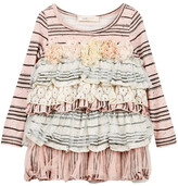 Baby Sara Tiered & Striped Empire Dress (Toddler & Little Girls)