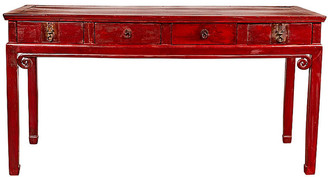 One Kings Lane Vintage Chinese Antique Red Lacquered Wood Desk - FEA Home