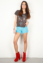 Singer22 605 Vintage Aqua Studded Short in Turquoise - by RUNWAYDREAMZ