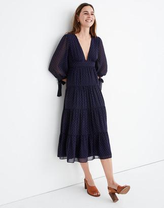 Madewell Petite Tie-Sleeve Tiered Midi Dress in Clipdot