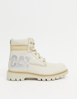 CAT Footwear Caterpillar lyric bold leather boots in beige