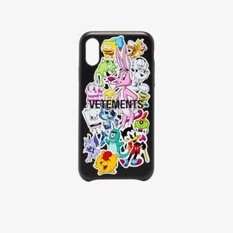 Vetements black Monster Stickers iPhone XS case