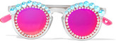 Freda Banana - Lulu Round-frame Embellished Matte-acetate Mirrored Sunglasses - Bright pink