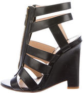 Jerome C. Rousseau Leather Caged Wedge Sandals