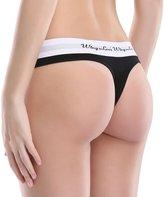 WingsLove Women's 3 Pack Cotton Sexy Thongs Panties Low Waist Rise Seamless String Underwear (M, Black)