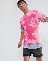 Obey Bleach T-Shirt With Chest Logo In Pink