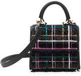 Les Petits Joueurs Handbags Micro Alex Disco Tartan Top-Handle Bag, Black/Multi