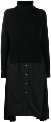 Sacai Roll-Neck Layered Shirt Dress