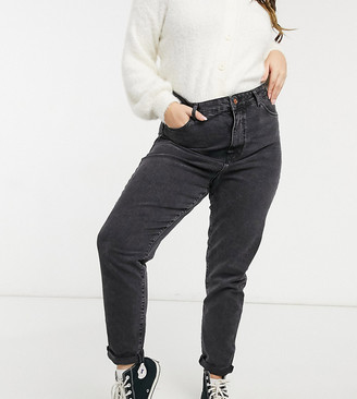 New Look Plus New Look Curve mom jean in black