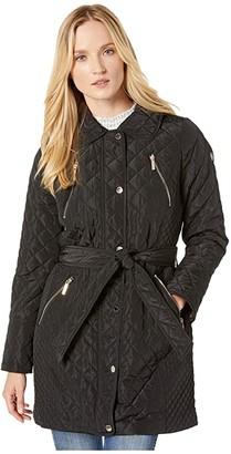 MICHAEL Michael Kors Belted Snap Front Quilt M422914TZ (Black) Women's Coat