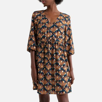Vila Printed Mini Dress with 3/4 Length Sleeves and V-Neck