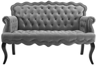 Modway Adelia Chesterfield Button Tufted Loveseat Performance Velvet Settee in Gray