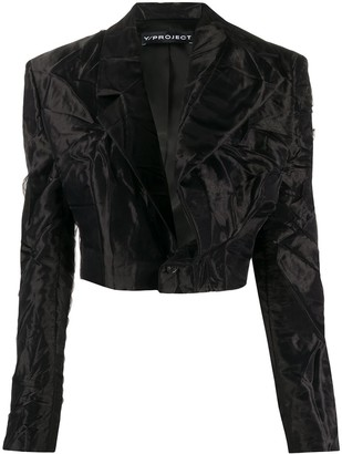 Y/Project Creased Effect Cropped Blazer