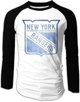 VNATKERE Men's New York Rangers Pond Logo Baseball Raglan T-Shirt