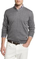 Peter Millar Silk-Blend V-Neck Sweater, Medium Gray