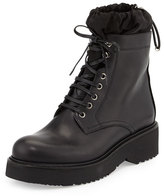 Prada Nylon-Lined Leather Combat Boot, Black