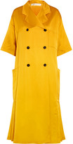 Victoria Beckham Pleated Silk-blend Satin Coat - Yellow