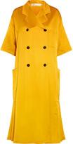 Victoria Beckham Pleated Silk-blend Satin Coat - Yellow