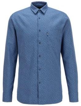 HUGO BOSS Cotton Canvas Slim Fit Shirt With Micro Jacquard Pattern - Dark Blue