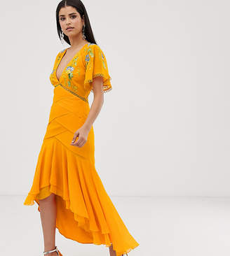 Asos Tall DESIGN Tall occasion maxi dress with circle trims and embroidery-Multi
