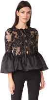 Marchesa Peplum Top with Bell Sleeves