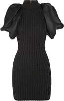 Lanvin Ribbed wool-blend and silk-gazar dress