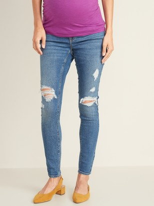 Old Navy Maternity Front Low-Panel Distressed Rockstar Jeans