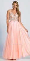 Dave and Johnny Plunging V-back Rhinestone Embellished A-line Prom Dress
