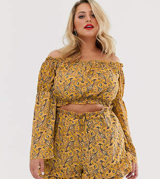 Bardot In The Style Plus x Dani Dyer elasticated crop top in yellow paisely-Multi