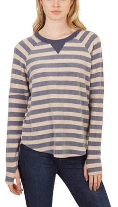 Sweet Romeo Women's Striped Thumbhole Pullover