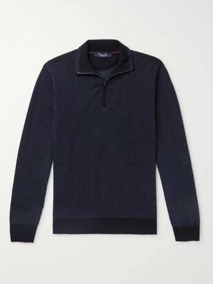 Loro Piana Roadster Striped Cashmere Half-Zip Sweater - Men - Blue