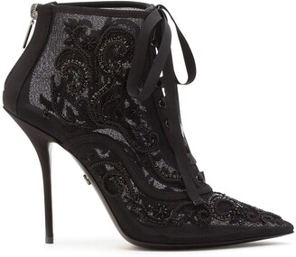 Dolce & Gabbana Embroidered Lace-Up Boots