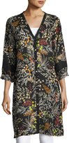 Johnny Was Busch Button-Front Long Cardigan, Black Pattern