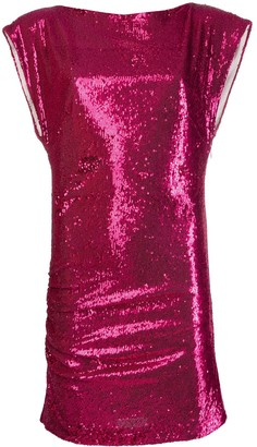 P.A.R.O.S.H. Sequinned Metallic Sleeveless Dress