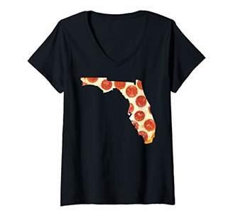 Womens FLORIDA PIZZA SHIRT PEPPERONI PIZZA STATE TSHIRT V-Neck T-Shirt