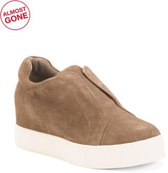 Suede Wedge Slip-on Sneakers