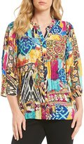 Investments Pleated Button-Front Printed Blouse