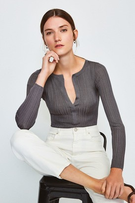 Karen Millen Knitted Rib Deep V Top