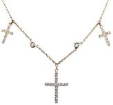 Jacquie Aiche Diamond Triple Cross Choker Necklace