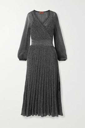 Missoni Wrap-effect Metallic Crochet-knit Midi Dress - Silver
