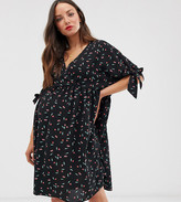 Asos DESIGN Maternity smock wrap mini dress with tie sleeves in cherry print
