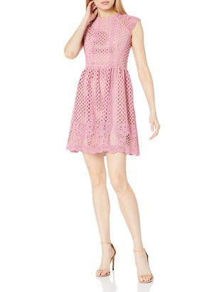 Shoshanna Women's Mori Cap-Sleeve A-Line Two-Tone Lace Dress
