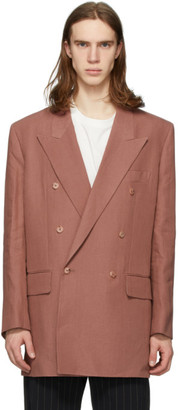 Paul Smith Pink Linen Longline Double-Breasted Blazer