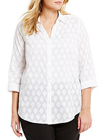 Allison Daley Plus Clip Jacquard Button Front Blouse Blouse