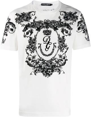 Dolce & Gabbana flocked floral print T-shirt