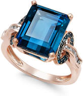 Macy's London Blue Topaz (6-5/8 ct. t.w.) and Diamond (1/4 ct. t.w.) Ring in 14k Rose Gold