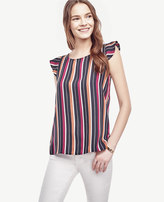 Ann Taylor Petite Striped Flutter Top