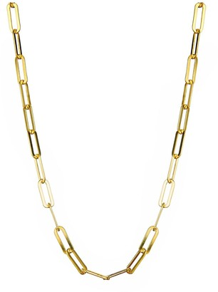 The Love Silver Collection Gold Plated Sterling Silver Paper Clip Chain Necklace